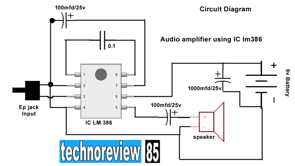 Easy audio amplifier Circuit - techno review 85