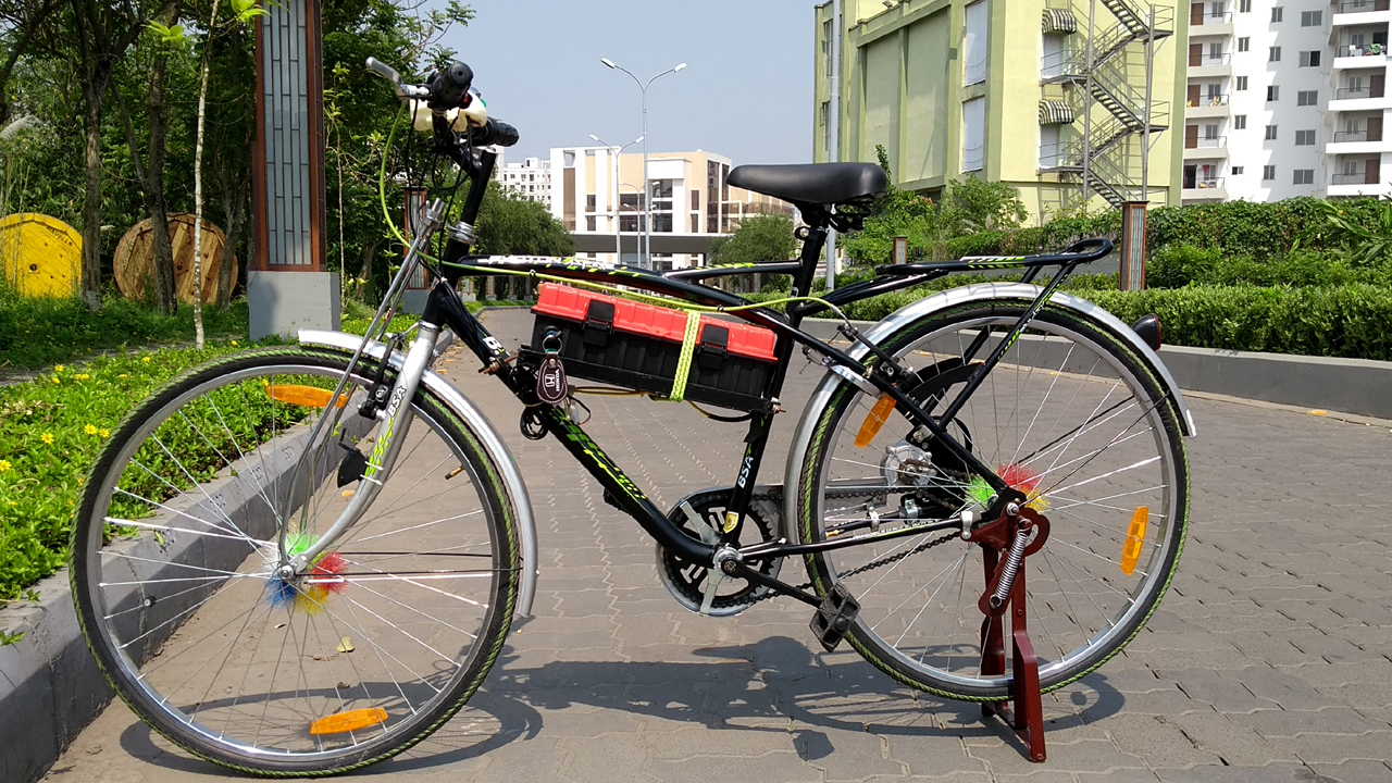 home made electric bicycle at home