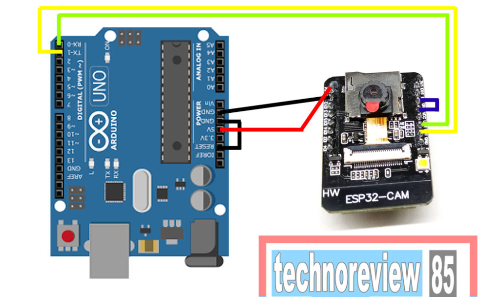 COnnection of arduino uno to esp32 cam