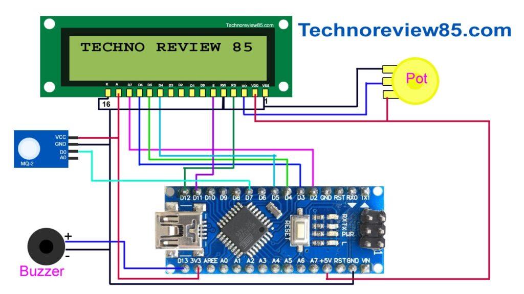 lpg gas leakage detector using arduino circuit